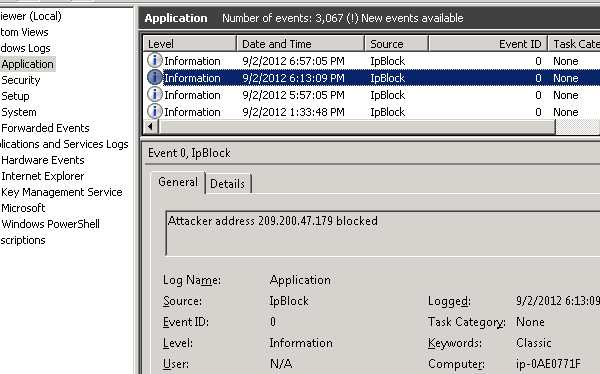 IpBlock EventViewer log entries